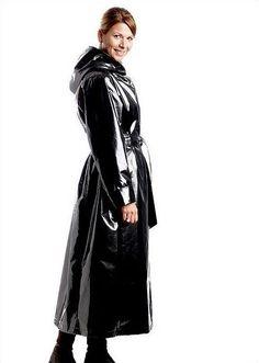 Black PVC Raincoat &amp Hat | long coat | Pinterest | Hats Raincoat