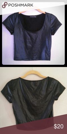 """NEW! Faux Leather Crop Top Super sexy fitted crop top * Faux leather color * Brand """"Milkyway USA"""" * Size M * 96% polyester. 4% spandex. * In excellent condition * Offers accepted! Milkyway Tops Crop Tops"""