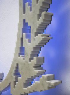 Neon-Classic (Ladurèe) det., 2008 white marble, stainless steel, neon 81x55x10cm
