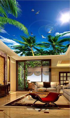 3d wallpaper custom mural non-woven 3d room wallpaper blue sky white cloud sea gull ceiling murals 3d wall murals wallpaper
