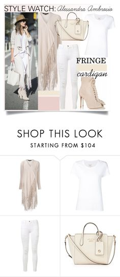"""""""Fringed Cardigan with Alessandra Ambrosio..."""" by nfabjoy ❤ liked on Polyvore featuring ThePerfext, Max 'n Chester, Frame, Gucci, Gianvito Rossi, fringe, AlessandraAmbrosio, CelebrityStyle and fringecardigan"""