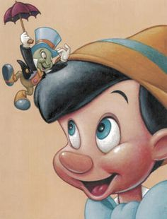 The Art of Disney: Friendship Pinocchio and Jiminy Cricket USA, 2003 Disney And More, Disney Love, Disney Magic, Disney Art, Disney Pixar, Walt Disney, Classic Cartoon Characters, Classic Cartoons, Disney Characters