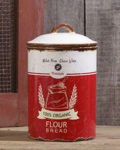 Retro Ceramic Flour Canister / Vintage Kitchen