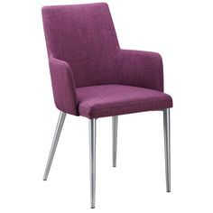 Moe's Home Collection HK-1008-10 Flavia Arm Chair in Purple