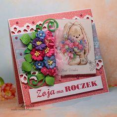 Zoja ma roczek/Kartka na roczek dla dziewczynki/Birthday card Cardmaking, Birthday Cards, Scrapbook, Frame, Handmade, Decor, Bday Cards, Picture Frame, Hand Made