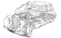 auto drawings | Revealed: the inner workings of classic cars - Telegraph