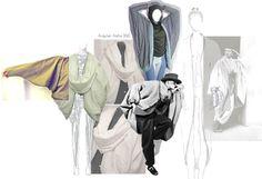 Fashion Portfolio - fashion design exploring the concept of concealed identity - design development & experimentation; fashion sketchbook // Arayner Aisha