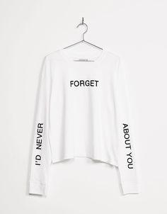 Camiseta estampada detalles mangas texto - Manga Larga - Bershka España