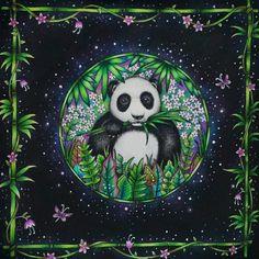 Panda - Selva Mágica   Magical Jungle Secret Garden Coloring Book, Coloring Book Art, Colouring Pages, Adult Coloring, Johanna Basford Books, Johanna Basford Coloring Book, Magical Jungle Johanna Basford, Polychromos, Purple Crayon