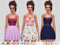 A new cute dress with different spring/summer patterns perfect for a little walk in the countryside!  Found in TSR Category 'Sims 4 Female Everyday'