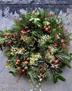 Winter wreath by The Garden Gate Flower Company. Wreaths And Garlands, Holiday Wreaths, Door Wreaths, Winter Wreaths, Floral Wreaths, Spring Wreaths, Christmas Arrangements, Flower Arrangements, Christmas Decorations