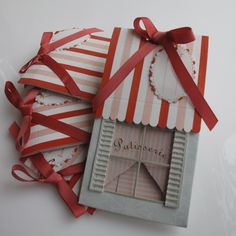 Adorable patisserie style cupcake/treat boxes in an adorable tiny French patisserie shop design can hold a tiny gift, a cupcake, candy or any petite treat.  Box comes with darling gift tag, tiny handle and ribbon.  Use them as favors for your next luncheon, brunch, bridal shower, or elegant littl...