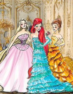 Modern ball gowns for Disney princesses. :D I LOVE IT!!!! THEY ARE SO BEAUTIFUL!! Rapunzel, Ariel, Bell. :)