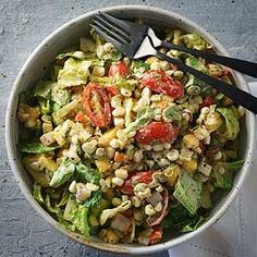 Enjoy this delicious southwest salad with chipotle dressing. It is vegan, raw, filling, refreshing and delicious. A great way to showcase summer's produce.