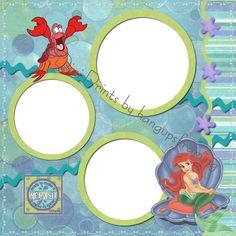 Disney Scrapbook Page Layouts | Disney Little Mermaid Pre Made Digital Scrapbook Pages | eBay