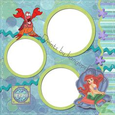 Disney Scrapbook Page Layouts   Disney Little Mermaid Pre Made Digital Scrapbook Pages   eBay