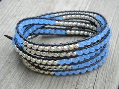 Beaded Leather Wrap Bracelet Designs   Beaded Leather 5 Wrap Bracelet with Silver and Soft Blue Beads on ...