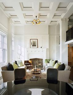 Looking for coffered ceiling design ideas and photos? Access the largest collection of coffered ceiling from top interior designers. Architectural Digest, Living Room Decor, Living Spaces, Living Rooms, Family Rooms, Architecture Design, Ceiling Design, Ceiling Detail, Ceiling Ideas