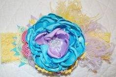Yellow blue and purple Headband by Caprice por CapriceColette