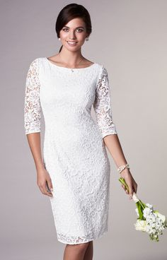 """For a smart city wedding, our Macie Stretch Lace Dress is a chic and stylish way to say """"I do""""."""