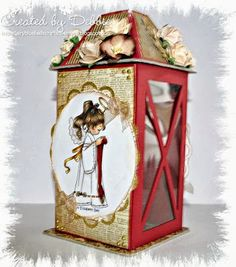 wow fabulous Christmas hand made lantern, Hobby House Topper and flowers
