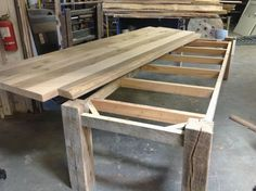 reclaimed-wood-table-base-big-berkeley Great Woodworking Plans For Home Projects Woodworking is an a Plank Table, Wood Table Bases, Wooden Tables, Wood Table Design, Table Designs, Diy Farmhouse Table, Rustic Table, Diy Table, Patio Table