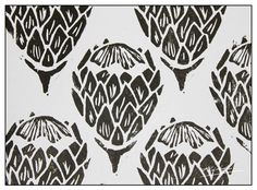 The Baobab Telegraph: Protea Print Pottery Painting, Fabric Painting, Protea Art, African Interior Design, Australian Native Flowers, Free Stencils, African Textiles, Art Template, Stencil Art