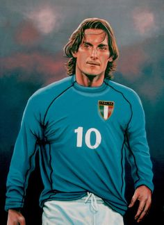 Realistic acrylic painting of the Italian football player Francesco Totti, painted by the Dutch fine artist Paul Meijering - 120 x 90 cm Football Drills, Football Icon, Retro Football, Football Art, World Football, Totti Francesco, Totti Roma, Football Hairstyles, Sports Painting