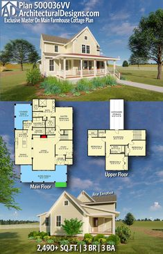 Architectural Designs Exclusive Farmhouse House Plan 500036VV has 4 beds | 2.5 baths | 2,600+ square feet of heated living space. Ready when you are. Where do YOU want to build? #500036VV #adhouseplans #architecturaldesigns #houseplan #architecture #newhome #newconstruction #newhouse #homedesign #dreamhouse #homeplan #architecture #architect #houses #homedecor #kitchen #greatroom #exclusivedesign #farmhouse #modernfarmhouse