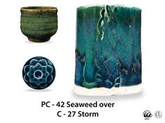 Seaweed is a fluid, deep green glaze that layers beautifully with a variety of Potter's Choice glazes. This glaze breaks brownish over texture and becomes more fluid with thickness. Pay attention to application thickness so the glaze does not flow onto kiln shelves during firing. Due to the powdered nature of the materials involved with the dry-mix dipping buckets of this product, their respective health information and labels differ from the brushing glazes.