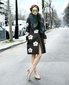 Prada S/S 2013 coat, Valentino rockstud pumps, Ray Ban mirror classic aviators #StreetStyle