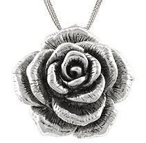 Sterling Silver Electroform Rose Pendant