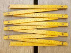 Double metre folding vintage wooden yellow by LeGrenierDeFrancine