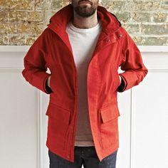 A bespoke storm jacket. Red Parka, Spring Jackets, Raincoat, Leather Jacket, Guy Style, Mens Fashion, Guys, Casual, Clothing