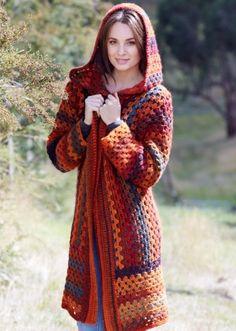 Bouvardia Hooded Jacket.  Crochet Cardi.  Crochet jacket.  Moda Vera Bouvardia 100g x 11.  Spotlight World of Colour Magazine.  10 ply180m/100g x 11.