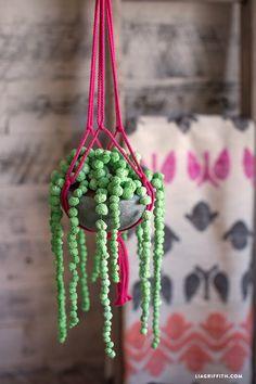 Paper Mache String of Pearls Plant - Lia Griffith Paper Mache Flowers, Paper Mache Clay, Paper Mache Sculpture, Paper Clay, Paper Toys, Diy Flowers, Diy Paper, Clay Sculptures, Paper Mache Projects