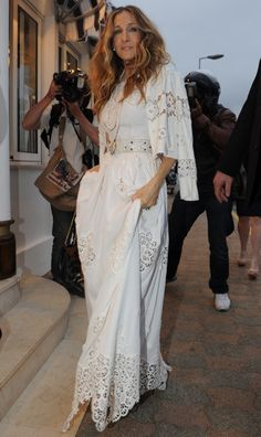 Sarah Jessica Parker in a beautiful white dress.
