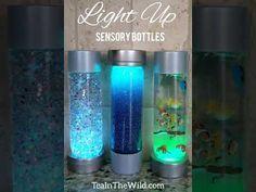Light Up Sensory Bottles – Tea in the Wild Light Up Sensory Bottles – Tea in the Wild Sensory Bottles Preschool, Glitter Sensory Bottles, Sensory Bags, Voss Water Bottle, Water Bottle Crafts, Calming Bottle, Calming Jar, Calm Down Jar, Calm Down Bottle