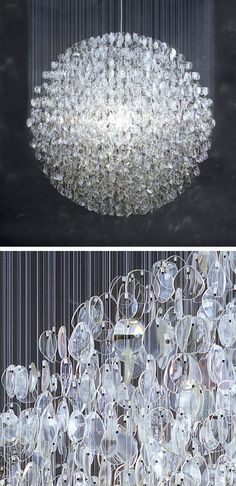 Disco ball made up of 4500 used prescription eyeglass lenses!