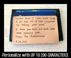Personalized Wallet Insert Copper Card - Hand Stamped Metal - UP TO 200 Characters - Gift Husband Boyfriend 7 Seven Year Anniversary on Etsy, $45.00