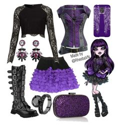 """Elissa Bat (Monster High)"" by rheebavn ❤ liked on Polyvore featuring Sonia by Sonia Rykiel, Demonia, Anya Hindmarch and DANNIJO"