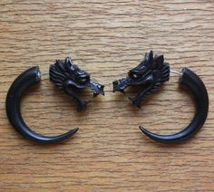 aww yiss come to butthead - 'draco' faux guage dragon earrings [sanskritdream @ etsy]