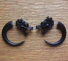 Fake Gauge Earrings  DRACO  Hand Carved Natural by SanskritDream, $25.00