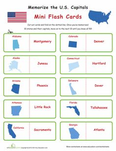 Worksheets: States and Capitals Flash Cards