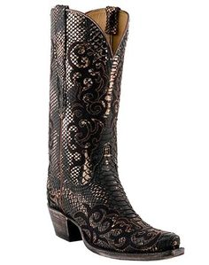 Belly Python Abigail stitch boots by Luchese.  $600.00