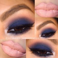 Navy blue smokey eye: eyes Lorac lips MAC sweet and Sour Pretty Makeup, Love Makeup, Makeup Inspo, Makeup Inspiration, Makeup Tips, Makeup Looks, Makeup Ideas, Blue Smokey Eye, Smoky Eye