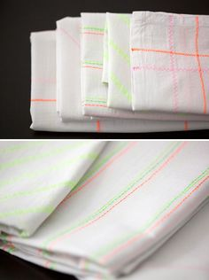 DIY Neon Patterned Tea Towels