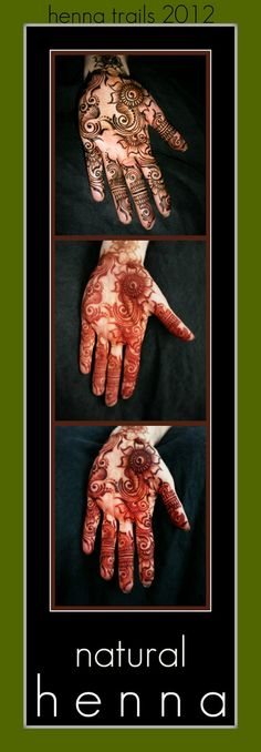 36 hours of natural henna and stain progression. Henna Trails uses organic Rajasthani henna powder, tea, cajeput oil, and sugar. Henna paste is left on overnight. Minimal water on the fresh henna stain. Deep burgindy red henna stain tones at 36 hours. This henna will last approximately 7-10 days. Nature's adornment. Chico, California.