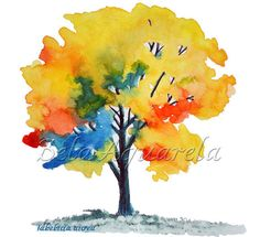 Ipe Brazilian Tree / Tree Aquarelle /Print by BelaAquarela on Etsy Beach Watercolor, Watercolor Trees, Watercolor Sketch, Watercolor Paintings, Watercolours, Yellow Tree, Watercolor Bookmarks, Watercolor Techniques, Ink Painting