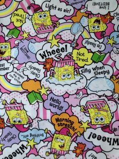 HY  SpongeBob fabric pink based colour NEW 2014 by HanamiBoutique
